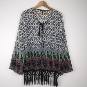 Monteau V-Neck w Tie Sheer Boho Top w Fringe L